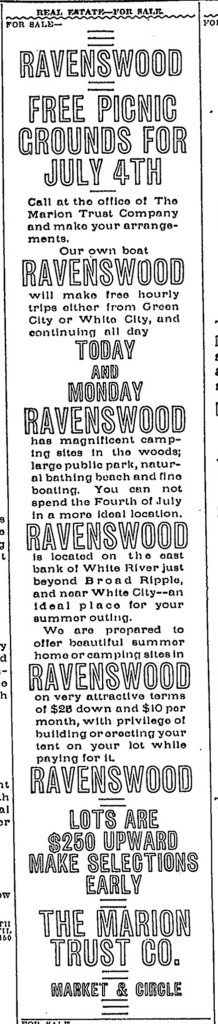 1910 ad in The Indianapolis Star advertised lots for sale in Ravenswood (courtesy of Indianapolis Public Library)