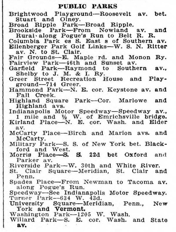 1920 Indianapolis City Directory listed the city's parks (courtesy of IUPUI Digital Archive)