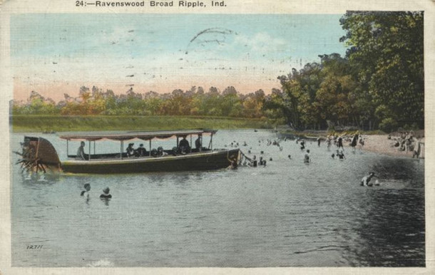 Early postcard showing swimming and boating activities on the White River near the resort area of Ravenswood (from the collection of Susan Zobbe, courtesy of broadripplehistory.com)