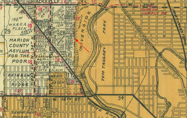 The 1941 Wagner map illustrates the area outside the city limits with light yellow and inside the city limits with light orange (map courtesy of Indiana State Library)