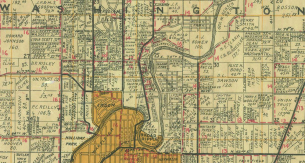 1931 Wagner map shows property owners (map courtesy of Indiana State Library)