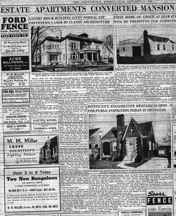 A January 11, 1942 Indianapolis Star article describes the improvements made by the Stecks (scan courtesy of Indianapolis Public Library)