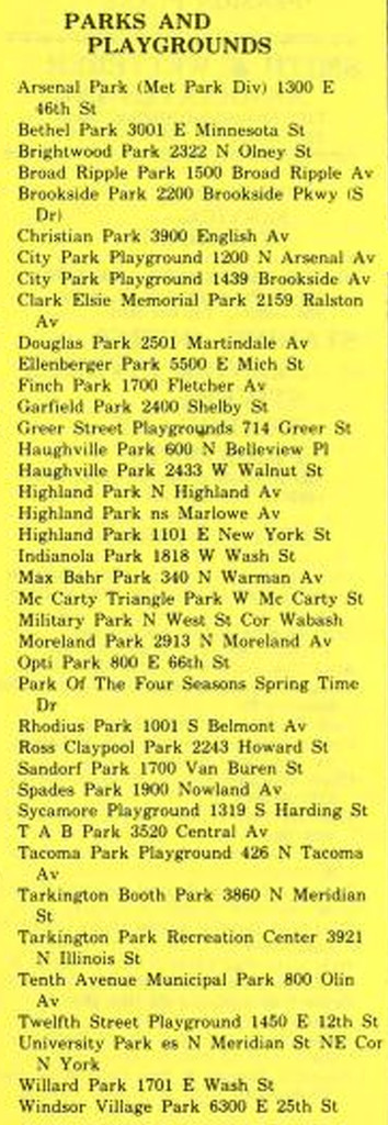 List of parks and playground in the 1985 Indianapolis City Directory (courtesy of IUPUI Digital Archives)