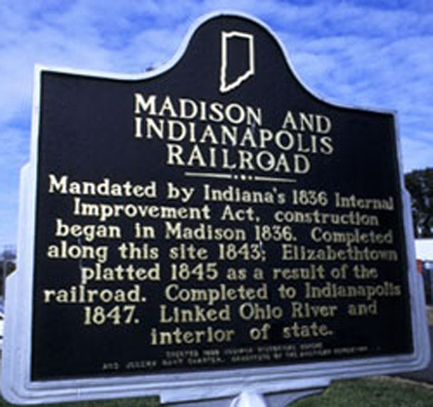 Plaque commemorating the construction of the Madison and Indiana Railroad