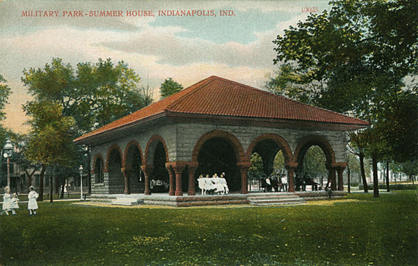 1910 postcard of the park shelter in Military Park (A. C. Bosselman Co., courtesy of the Indiana Historical Society)