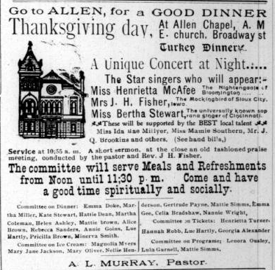 Sunday Adverts: Turkey Dinner at Allen A.M.E.