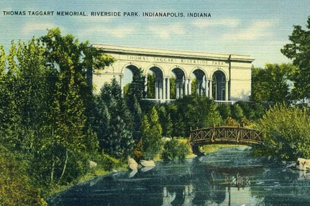 In honor of Mayor Thomas Taggart's commitment to the city parks system, a memorial was erected in Riverside Park (postcard image courtesy of IUPUI Digital Archives)