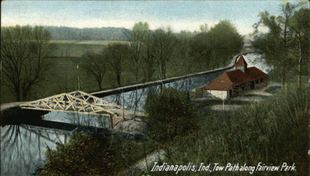 Postcard depicting Fairview Park, current home of Butler University