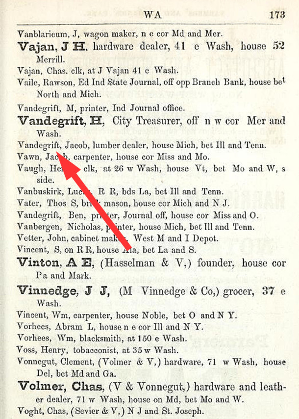 The 1855 Indianapolis City Directory listed Jacob Vandegrift on West Michigan Street (scan courtesy IUPUI Digital Archives)