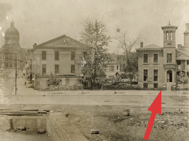 1887 photo of the home in which Fanny Vandegrift was born in 1840 shows the wing later added by William H. English (photo courtesy of the Indiana Historical Society)