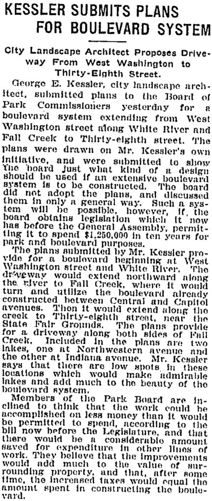 1909 Indianapolis Star article discusses Kessler's plan for Indianapolis (courtesy Gannett and Indianapolis Public Library)