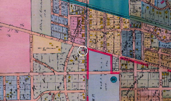 The 1916 Baist Map labels the Downey and Brouse addition, and shows the Horner-Terrill home on Lot 1. At the time, the area was still considered to be part of Irvington. (Today, Irvington's western boundary is Emerson Avenue.)