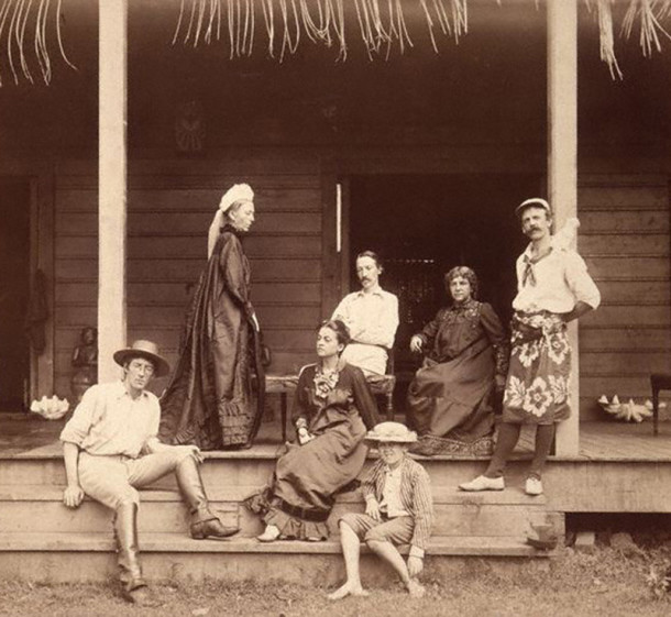 The extended Stevenson - Osourne family on the porch at Vailima (photo by J. Davis, circa 1891)