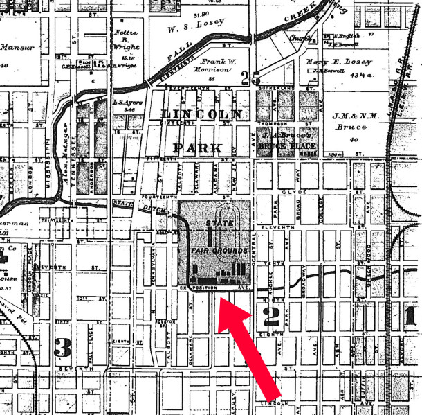 Red arrow shows the proximity of 1949 North Alabama Street to the former State Fair Grounds (1889 Atlas courtesy of Indiana State Library) CLICK TO ENLARGE