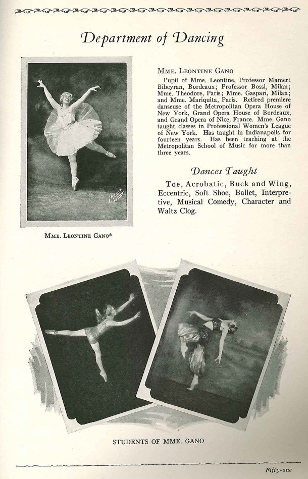 Page from a bulletin showing the offerings of the Department of Dancing (scan courtesy of Indiana State Library)