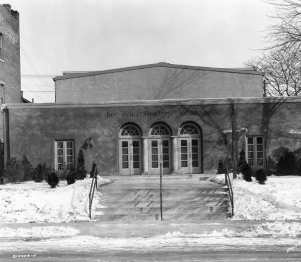 Booth Tarkington Civic Theatre at 1847 North Alabama Street the year after it was built in 1929 (Bass Photo Company Collection, courtesy of the Indiana Historical Society)