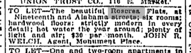 Real estate ad for the Rosecrea Flats appeared in The Indianapolis Star (image courtesy of Indianapolis Public Library)