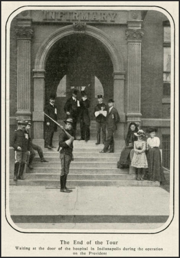 In a photo from Harper's Weekly, Soldiers stand watch outside of St.Vincent during Teddy Roosevelt's 1902 surgery. Photo: courtesy of the Indiana Historical Society