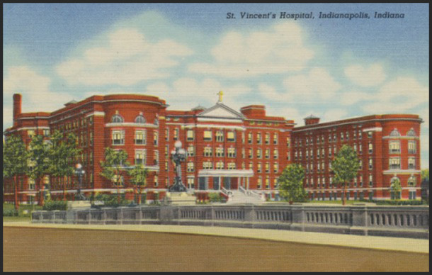 Vintage postcard of St. Vincent Hospital on Fall Creek, shortly after its 1913 opening - Photo: eBay