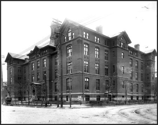 St. Vincent's second location at the corner of South and Delaware Streets - Photo: courtesy of the Indiana Historical Society