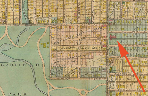 1918 Baist Atlas map shows St. Catherine Siena Catholic Church before the school building was erected eat off it (curtesy of IUPUI Digital Archives)