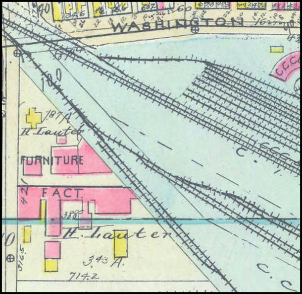 H. Lauter factory on the 1927 Baist Atlas of Indianapolis