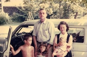 Kurt and Jane Vonnegut and their three children about 1955 (photo courtesy of Edie Vonnegut)
