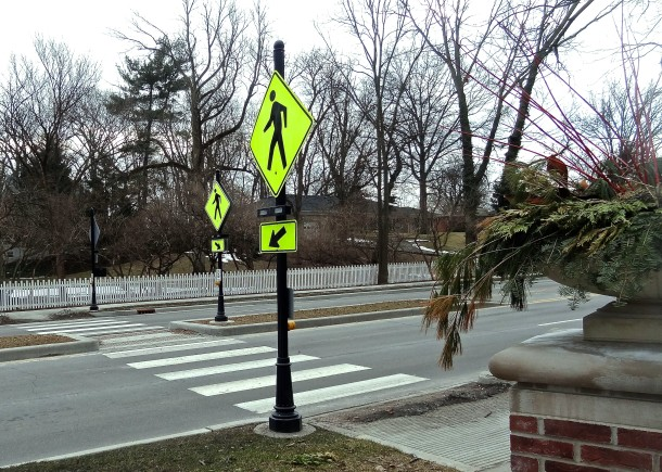 New crosswalks allow for safer pedestrian passage around the park