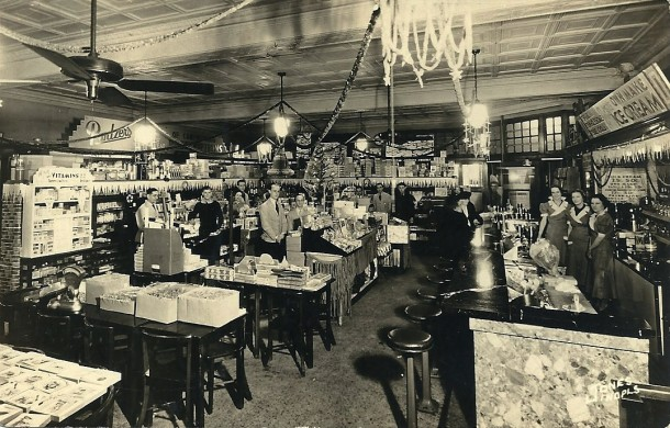 Interior of Pantzer's Drugstore (from the ancestry.com page of Deborah Shadd)
