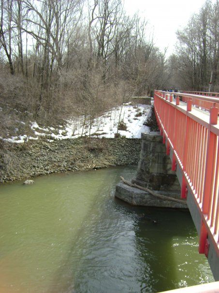 A bridge spanning the White River in Broad Ripple