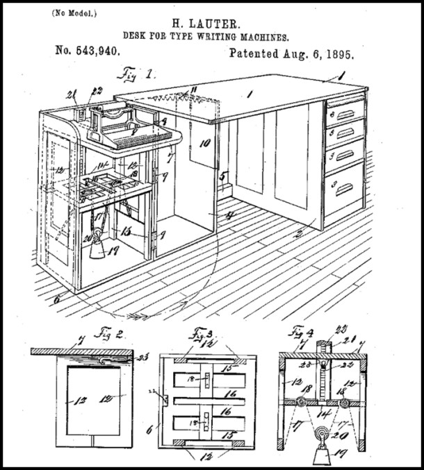 A patent diagram for a H. Lauter designed typewriter desk c. 1894