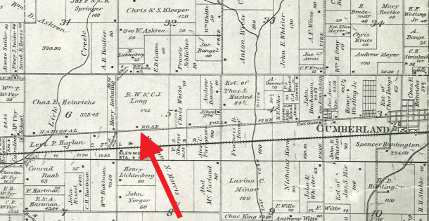 1889 map of Warren Township shows the owners of the land at that time were R. W. and C.J. Long and Chris Wiese) map courtesy of the Indiana State Library)