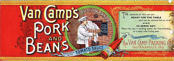 1900 Van Camp's Pork and Beans can label