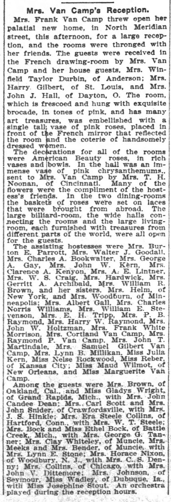 An article in The Indianapolis News on November 22, 1906, describes the party thrown by Clarissa Van Camp soon after the family moved into their new home (scan courtesy of newspapers.com)