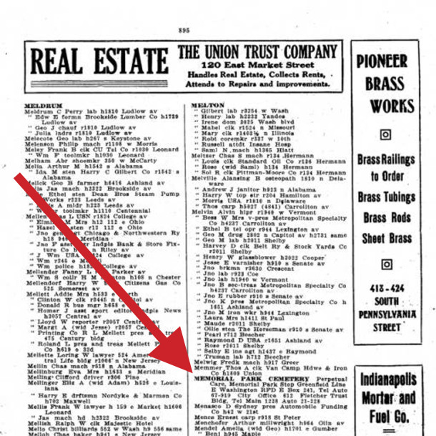 1918 Indianapolis City Directory shows the name change from Woodland to Memorial Park Cemetery (courtesy of IUPUI Digital Lbrary)