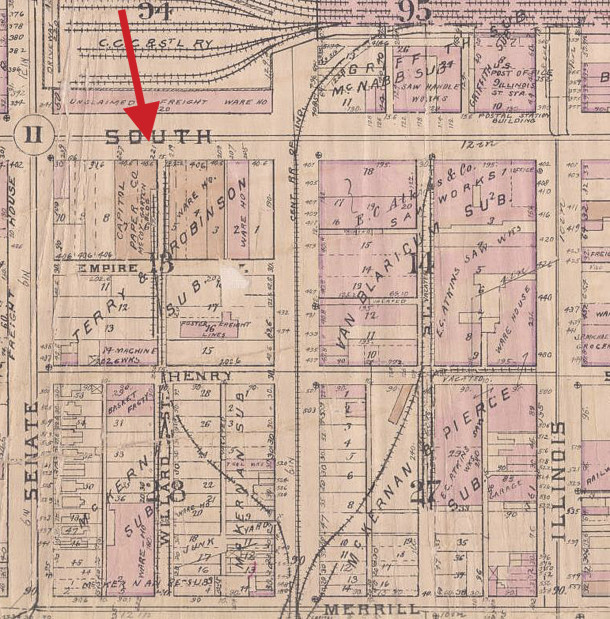 Beach & Arthur was located at 221 West South Street, prior to building the facility at 2906 Columbia Avenue (1929 Baist map courtesy of IUPUI Digital Archives)