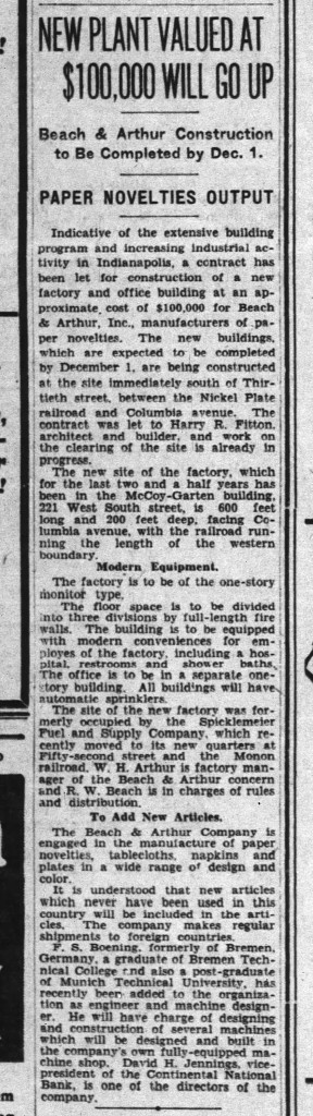 1930 article in The Indianapolis News announced the construction of the Beach & Arthur Printing Company building (image courtesy of newspapers.com)