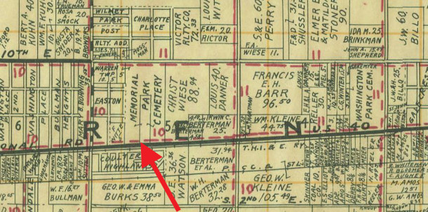1931 Wagner map shows the property owners at that time (courtesy of the Indiana State Library)