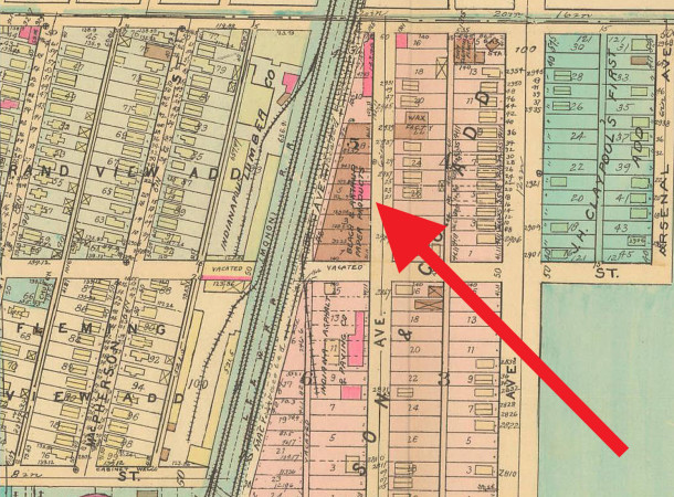 1941 Baist Atlas map still shows Beach & Arthur at 2906 Columbia Avenue, although it had ceased operation by that year (courtesy of IUPUI Digital Archives) (CLICK TO ENLARGE)