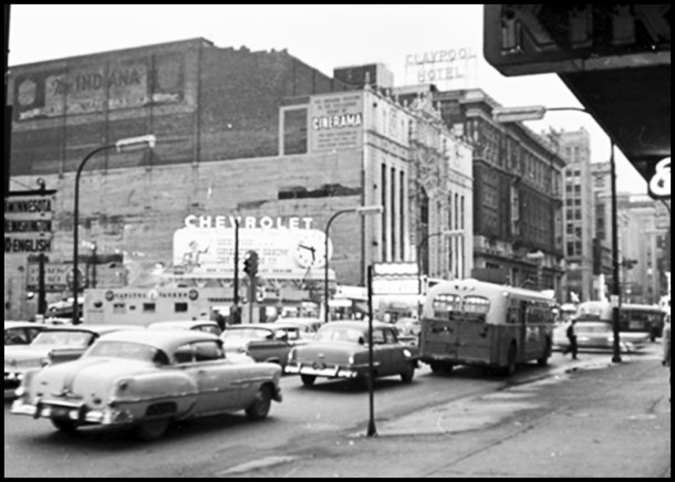 A 1960 photo showing the space left by the razed Capitol Theater with the Indiana Theater and Claypool Hotel behind it. - Photo courtesy of Frank Widner