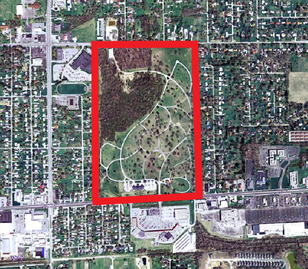 Aerial view of Memorial Park Cemetery at 9350 East Washington Street (courtesy of MapIndy)