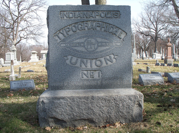 International Typographical Union marker at Crown Hill Cemetery has a number of early members buried around it (photo by Sharon Butsch Freeland)