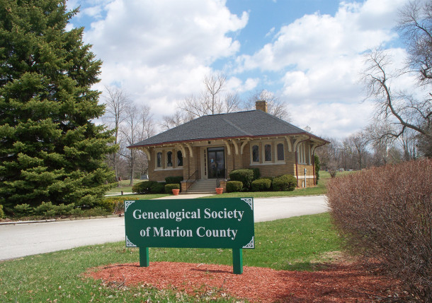The original cemetery office is now the home of the Genealogical Society of Marion County (photo by Sharon Butsch Freeland)