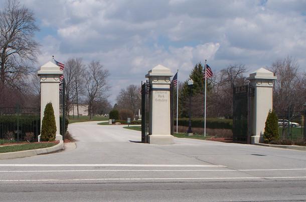 Memorial Park Cemetery on E. Washington Street has an impressive entrance of large stone pillars and wrought iron gates (photo by Sharon Butsch Freeland)