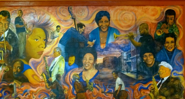 The mural painted by Reverend Watkins inside the Watkins Park Community Center