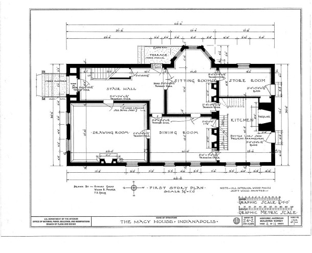 Macy House, 1st floor room layout, 1934 (Historic American Buildings Survey, Library of Congress)