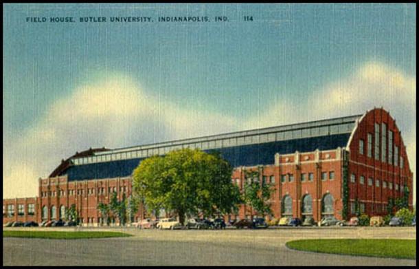 Vintage postcard of Butler Fieldhouse