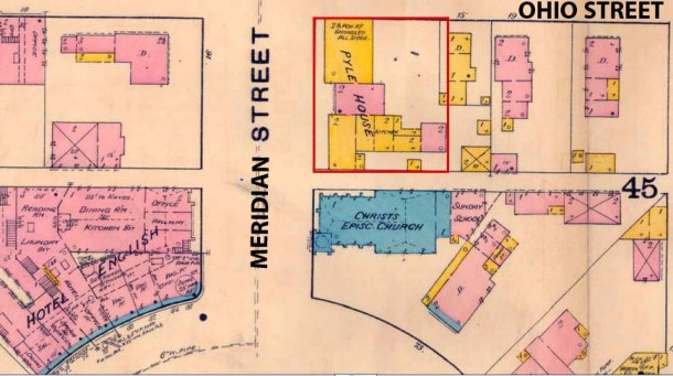 1887 Sanborn Fire Insurance Map of the Pyle House (Courtesy of IUPUI University Library Digital Collections)