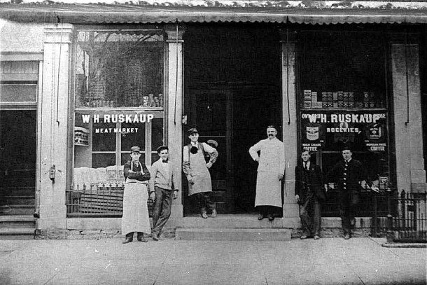 W. H. Ruskaup Grocery, ca. 1915 (The Indiana Album: Loaned by Myrtle Patterson)