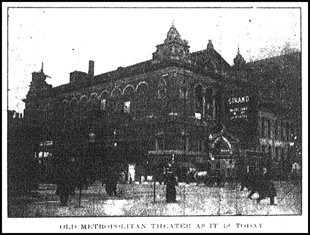 A 1916 photo of the theater from the ten month stretch during which it was called The Strand - Photo from the Indianapolis News February 12, 1916